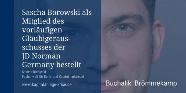 Sascha Borowski: Mitglied im Gläubigerausschuss der JD Norman Germany